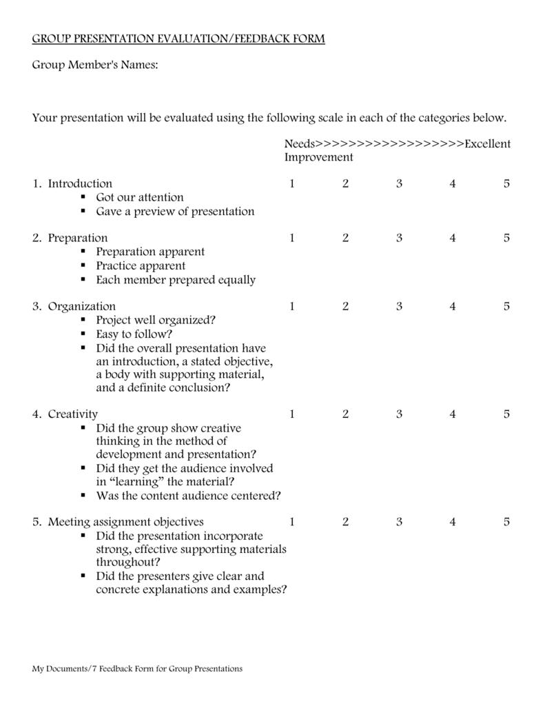 Presentation Feedback Form | Group Presentation Evaluation Feedback Form