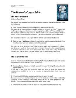 Tim Burton Style Analysis Film Essay Luis Gonzalez Tim Burton Cinematic Techniques The Corpse Bride  Ms  Paines Classroom