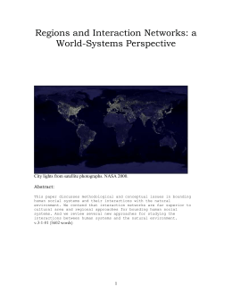 Regions and Interaction Networks: a World