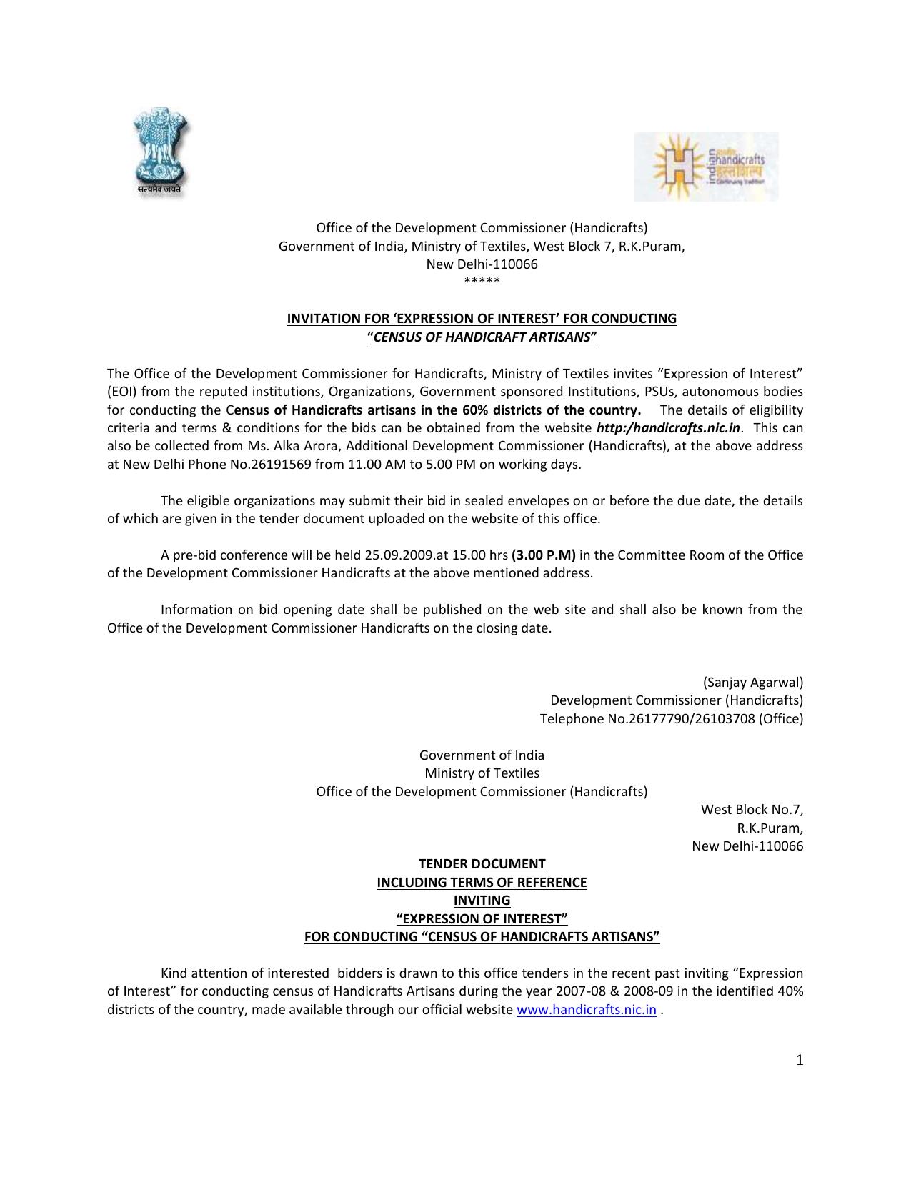 Census For Handicrafts Artisans Development Commissioner For