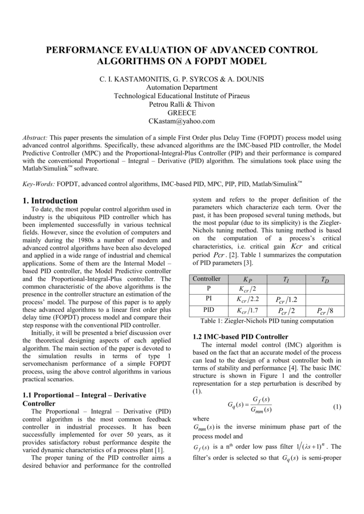 Performance evaluation of advanced control algorithms on