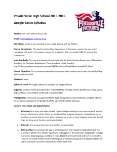 Google Basics Syllabus - Anderson School District One