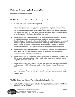 NSWNMA Policy on Mental Health Nursing Care