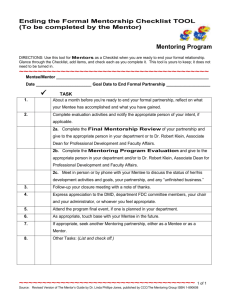 Mentor Ending the Formal Mentorship Checklist Tool