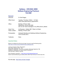 Syllabus – CEN 6940 – Software Engineering Practicum