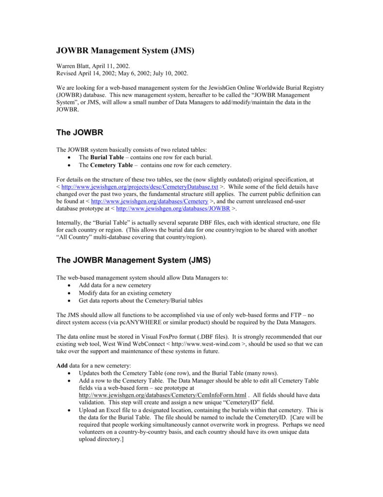 JOWBR Management System (JMS)