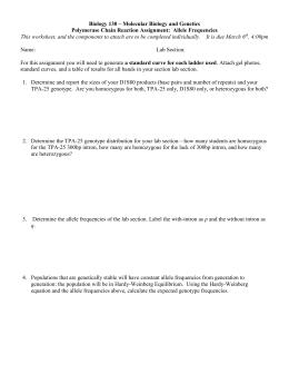 Hardy-Weinberg Spreadsheet Model