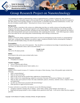 Group Research Project on Nanotechnology for - Nano