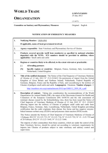 G/SPS/N/UKR/81 Page 1 World Trade Organization G/SPS/N/UKR