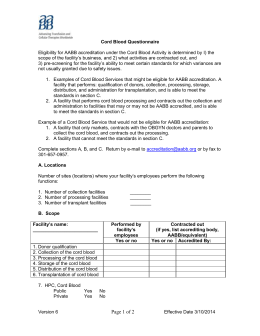 Questionnaire for Initials - Scope of the Cord Blood Service v.6