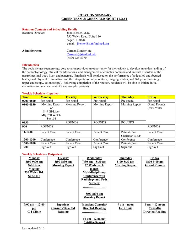 Rotation Specifics - Pediatrics House Staff