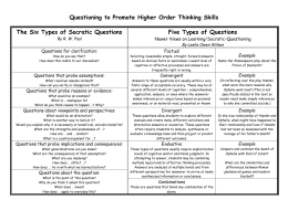 High Order Thinking & Bloom`s Taxonomy