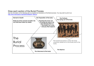 Draw each section of the Burial Process