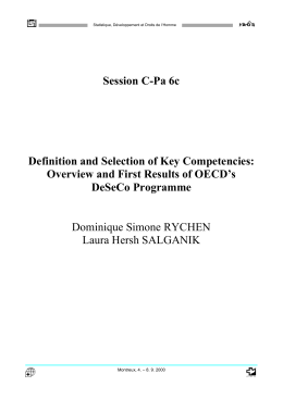 Definition and selection of key competencies