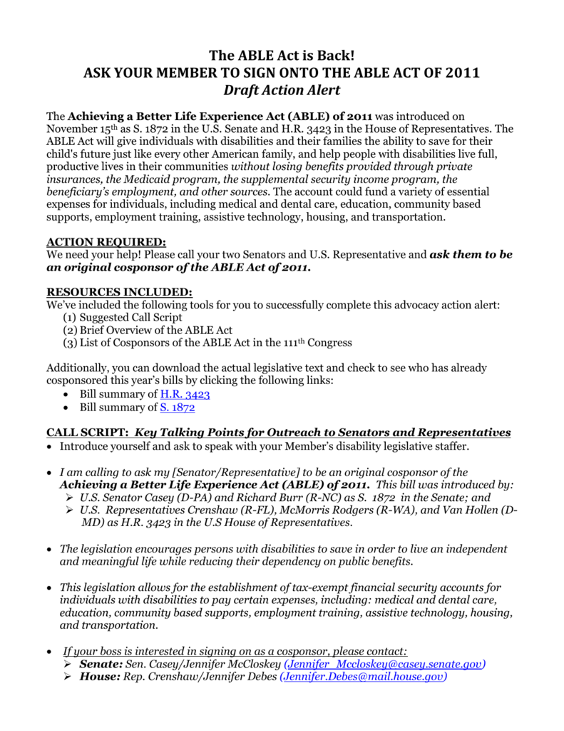Legislative Action Alert Act To Provide >> Action Alert