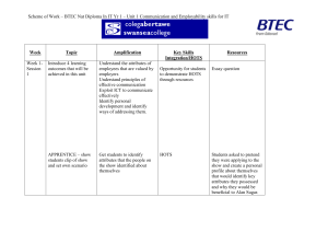 Scheme of Work – BTEC 1st Diploma In IT