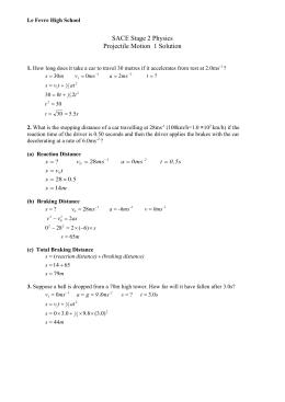 Worksheet - Projectile Motion 2 Solution
