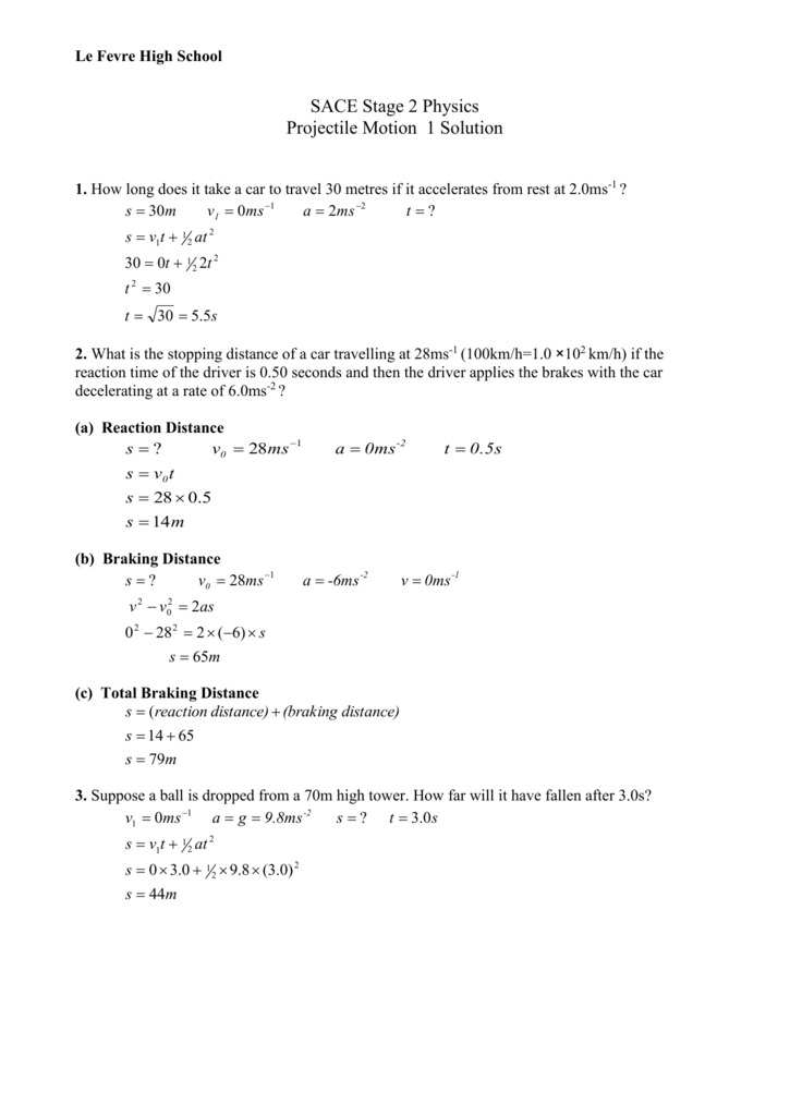 Worksheet Projectile Motion 1 Solution