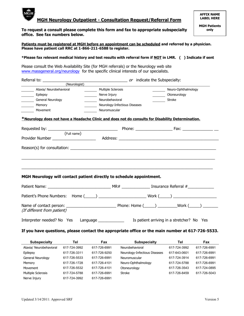 MGH Neurology Outpatient - Consultation Request/Referral Form