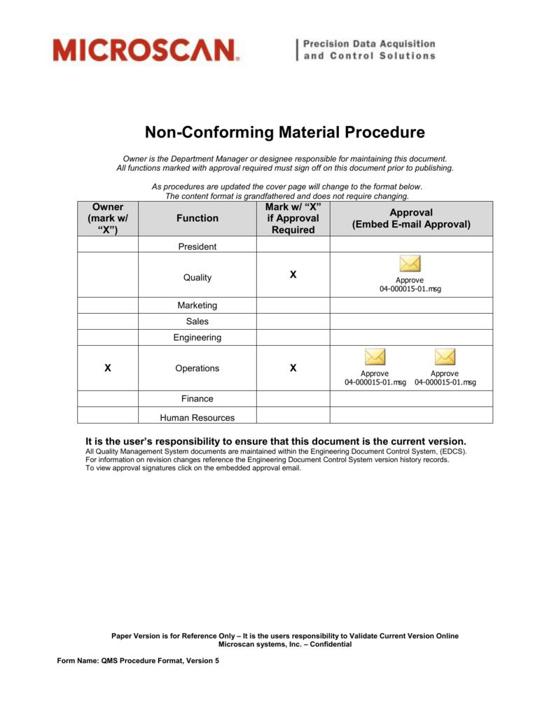 Non-Conforming Material Procedure