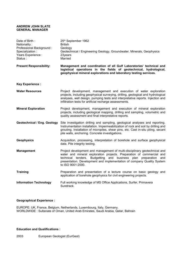 marine geotechnical engineer sample resume marine geotechnical engineer sample resume - Geotechnical Engineer Sample Resume