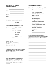 FRIENDS OF THE LIBRARY MEMBERSHIP FORM