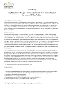 Early Intervention Manager – Intensive Community Home Services
