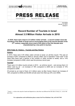 Jerusalem January 12, 2011 005/2011 Record Number of Tourists
