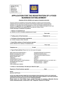 application for the registration of a food business establishment