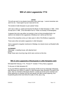 Will of John Legassicke 1714