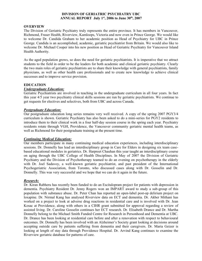 DIVISION OF GERIATRIC PSYCHIATRY UBC