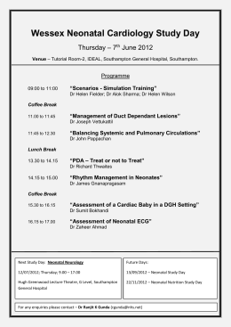 Wessex Neonatal Cardiology Study Day Thursday – 7th June 2012