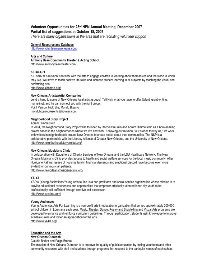 list of volunteer opportunities