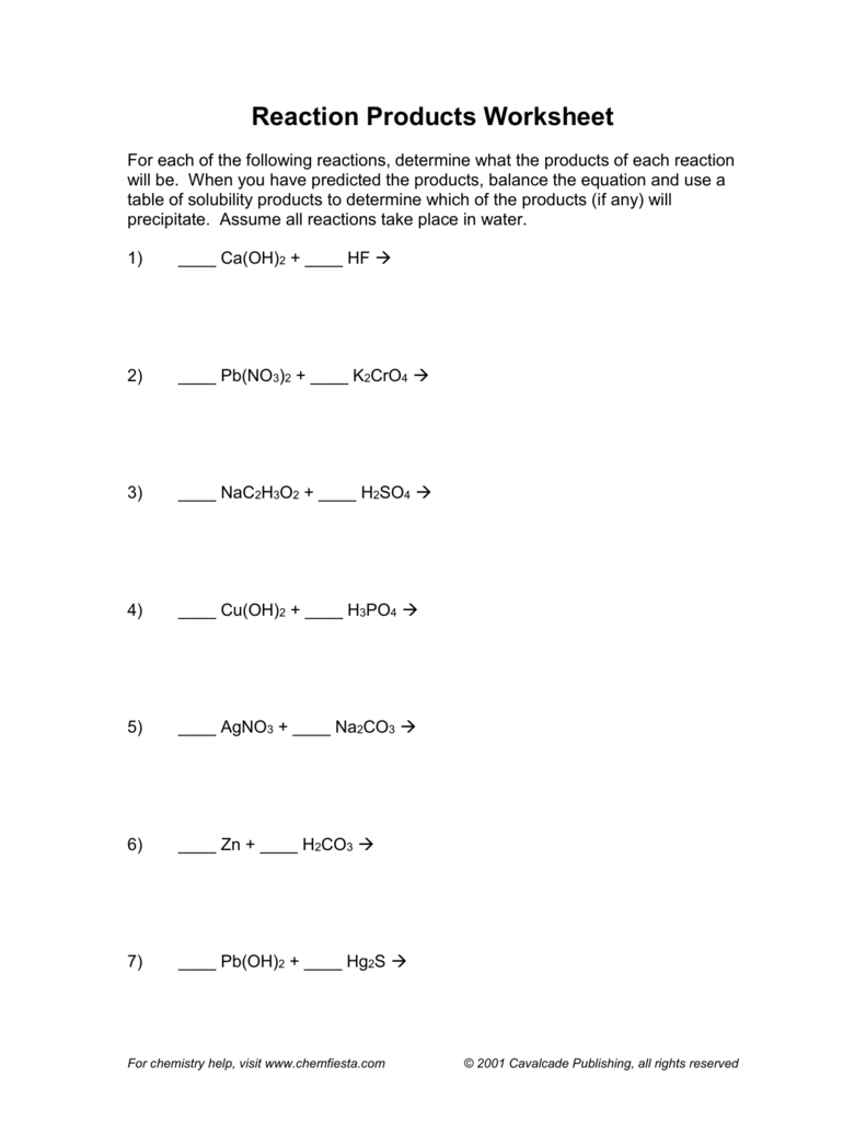 Reaction Products Worksheet