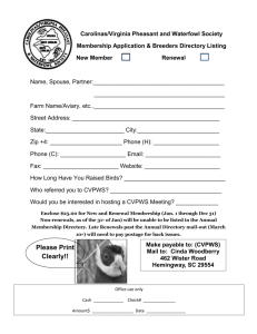 Membership Application form - carolinas/virginia pheasant and