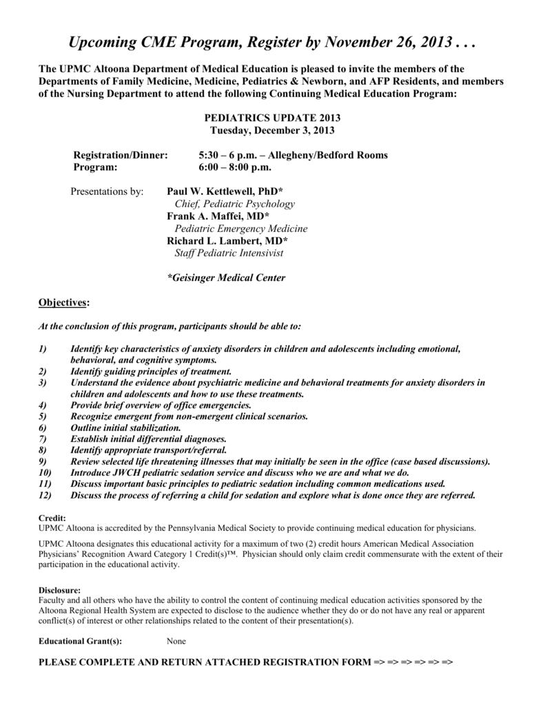 Upcoming CME Program, Register by APRIL 10
