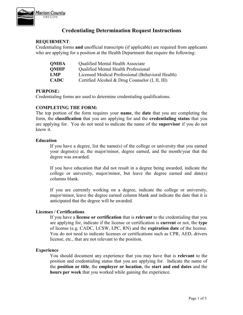 Credentialing Determination Request