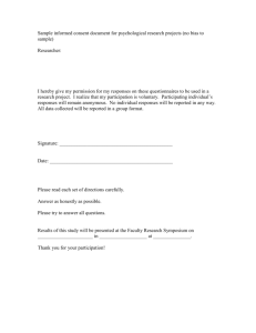 Sample informed consent document for psychological research