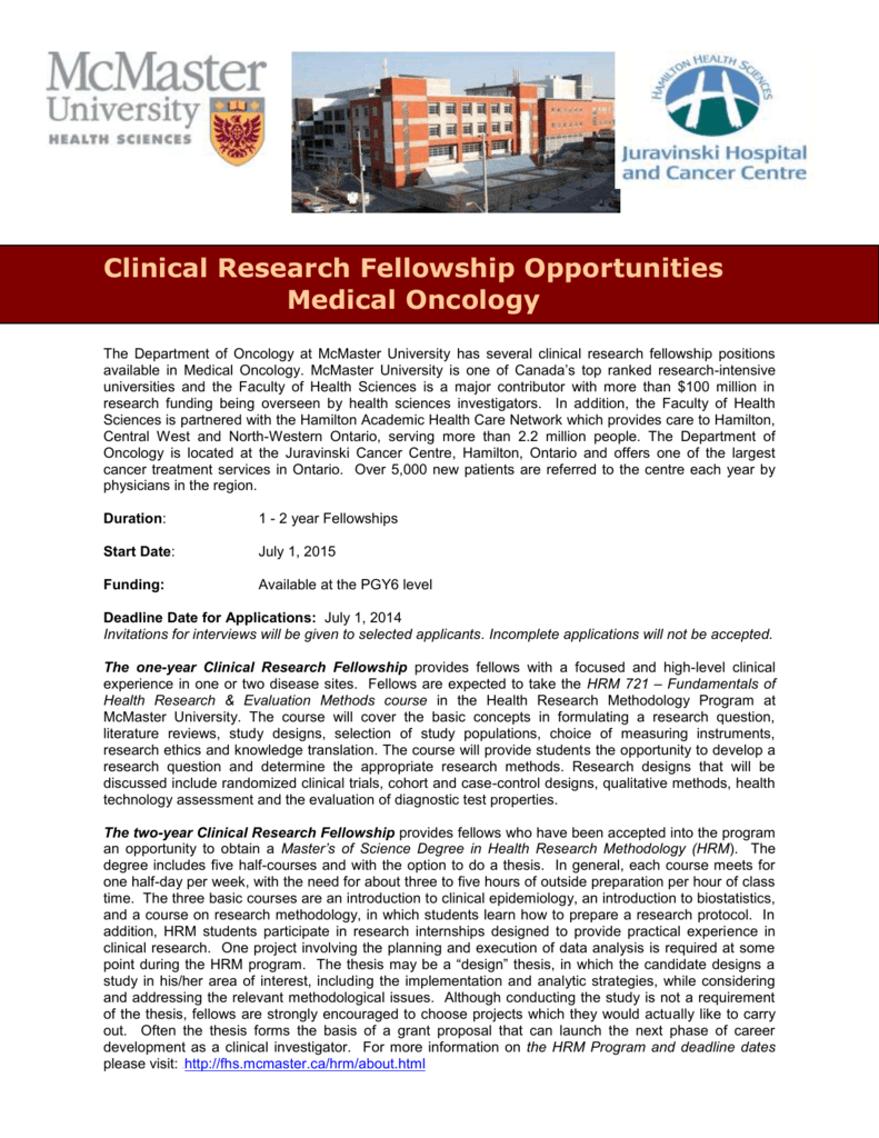 Fellowship Opportunities in the Department of Oncology