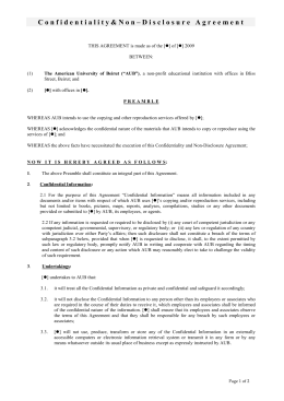 confidentiality agreement - American University of Beirut