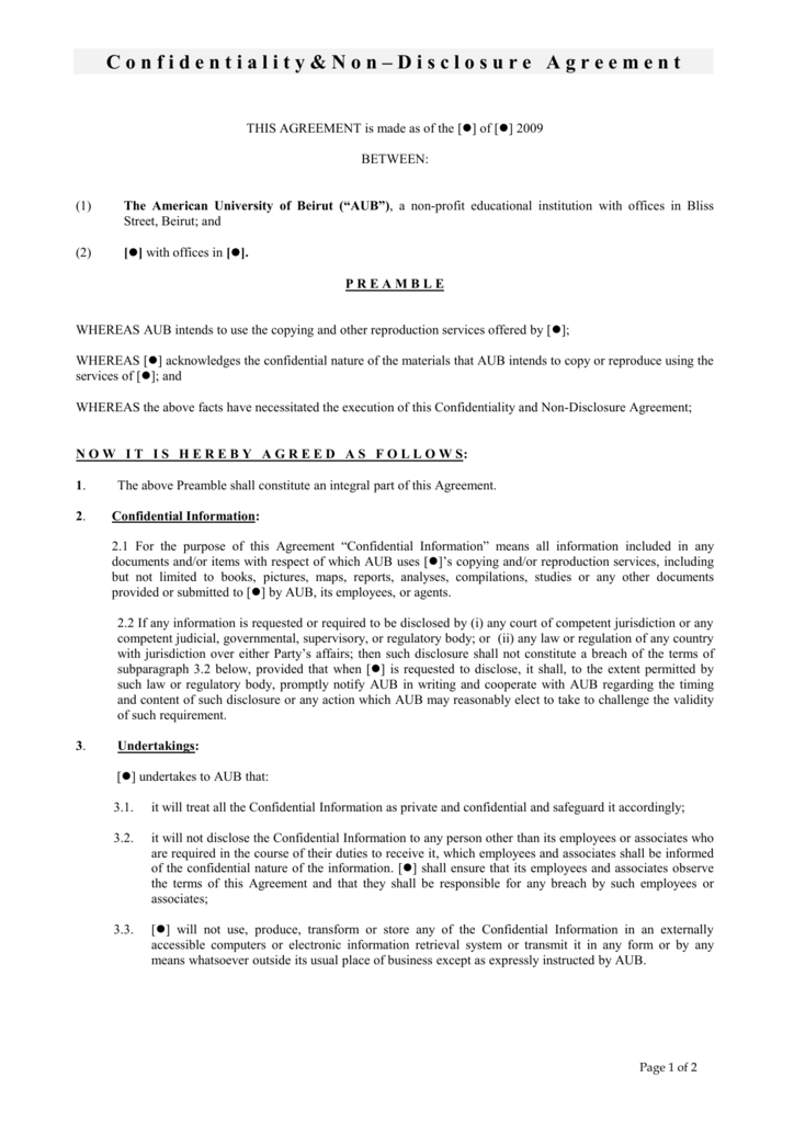 Confidentiality Agreement American University Of Beirut