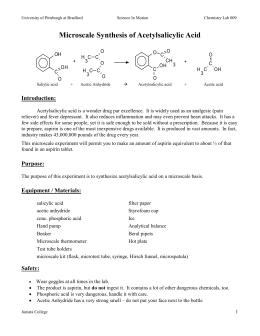 Synthesis of Acetyl Salicylic Acid (Aspirin) Essay