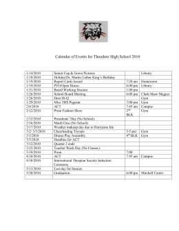 Calendar of Events for Theodore High School 2009