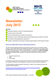 AHP Careers Fellowship Newsletter July 2012
