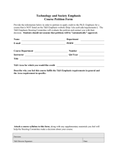 Technology and Society Emphasis Course Petition Form