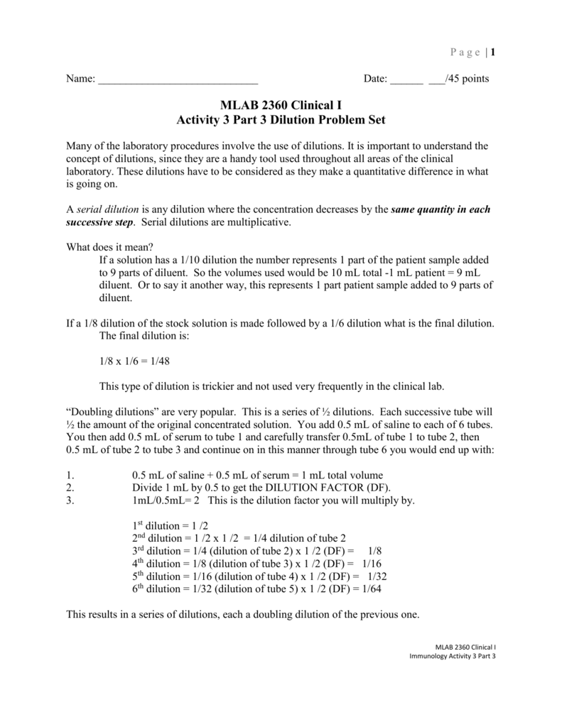 worksheet Solutions Worksheet 2 Molarity And Dilution Problems Answers dilution problem set