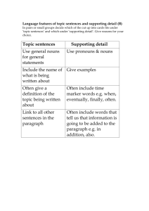 Language features of topic sentences and supporting detail (B)