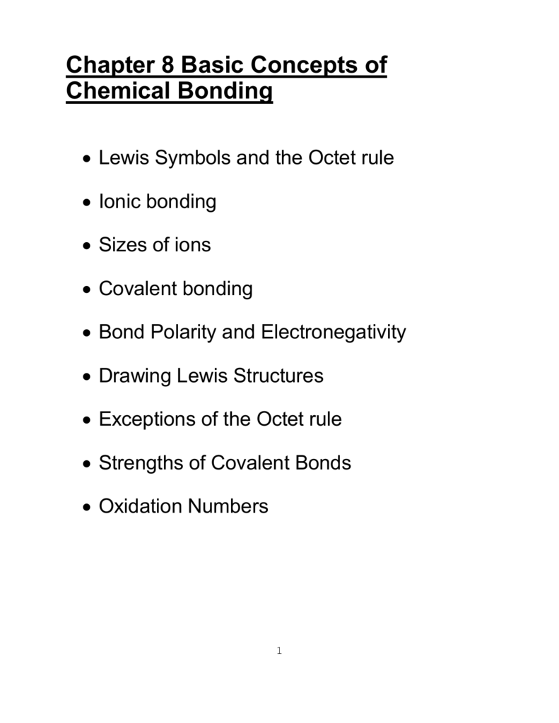 ionic bonds and some main group chemistry