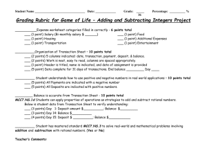 Grading Rubric for Game of Life – Adding and Subtracting Integers