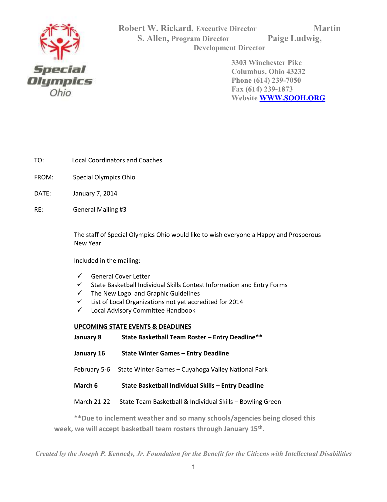 General Mailing Cover Letter